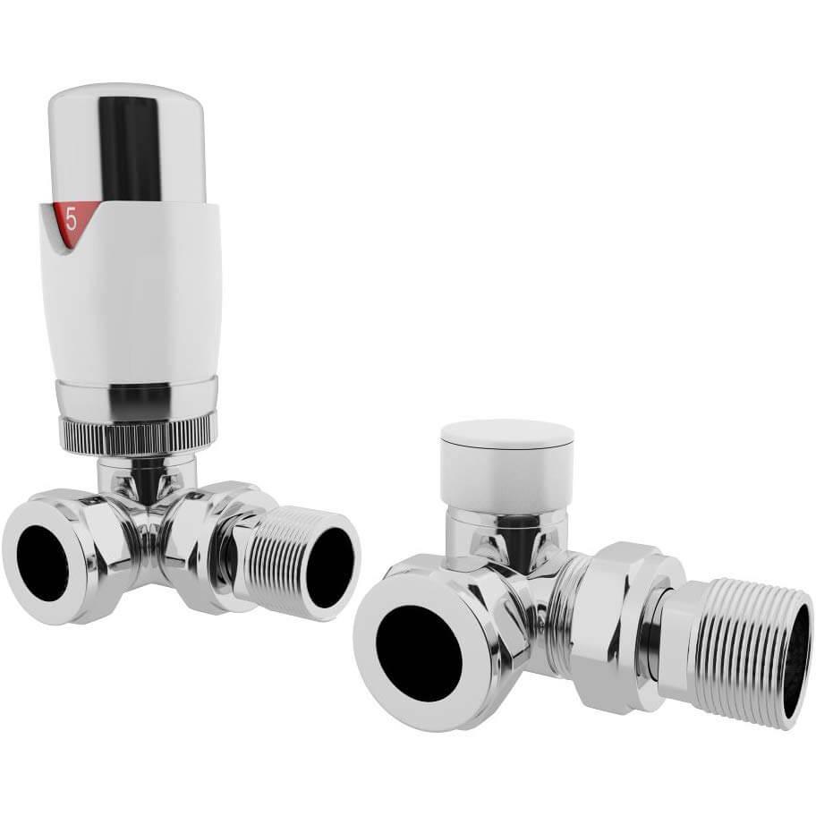 Realm Corner TRV White 15mm Thermostatic Radiator Valves Set