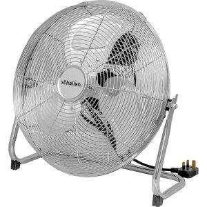 Schallen Chrome Silver Metal High Velocity Cold Air Circulator Adjustable Floor Fan